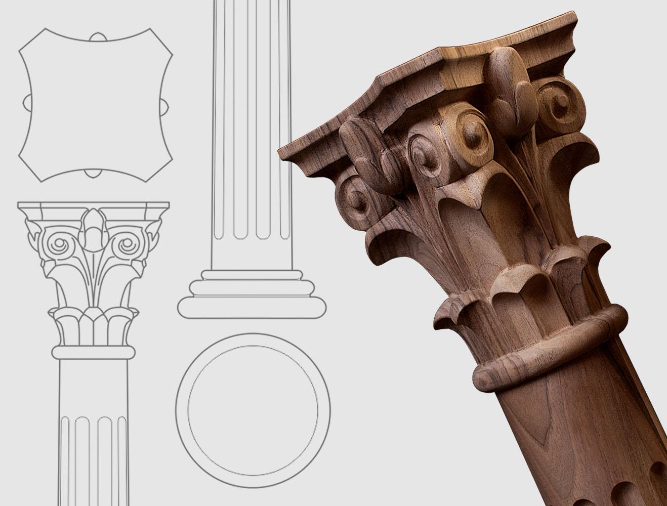 Colonnes de bois et balustres sculptée