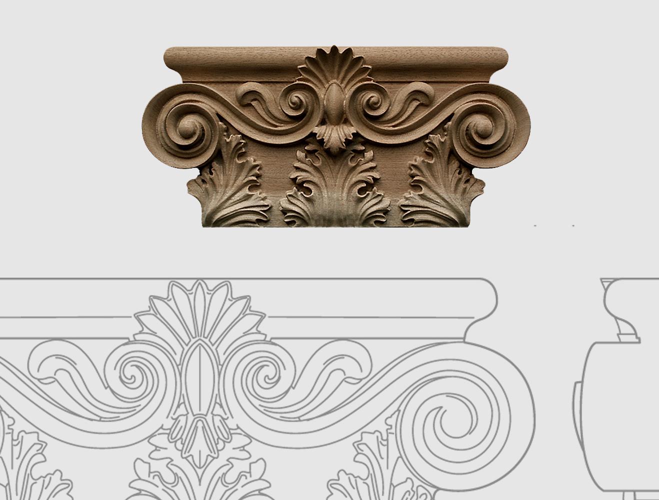 Nous réalisons, sur commande, des chapiteaux sur la base d'ornements originaux, de photos ou de dessins. Des chapiteaux et corbeaux de bois sculptés.