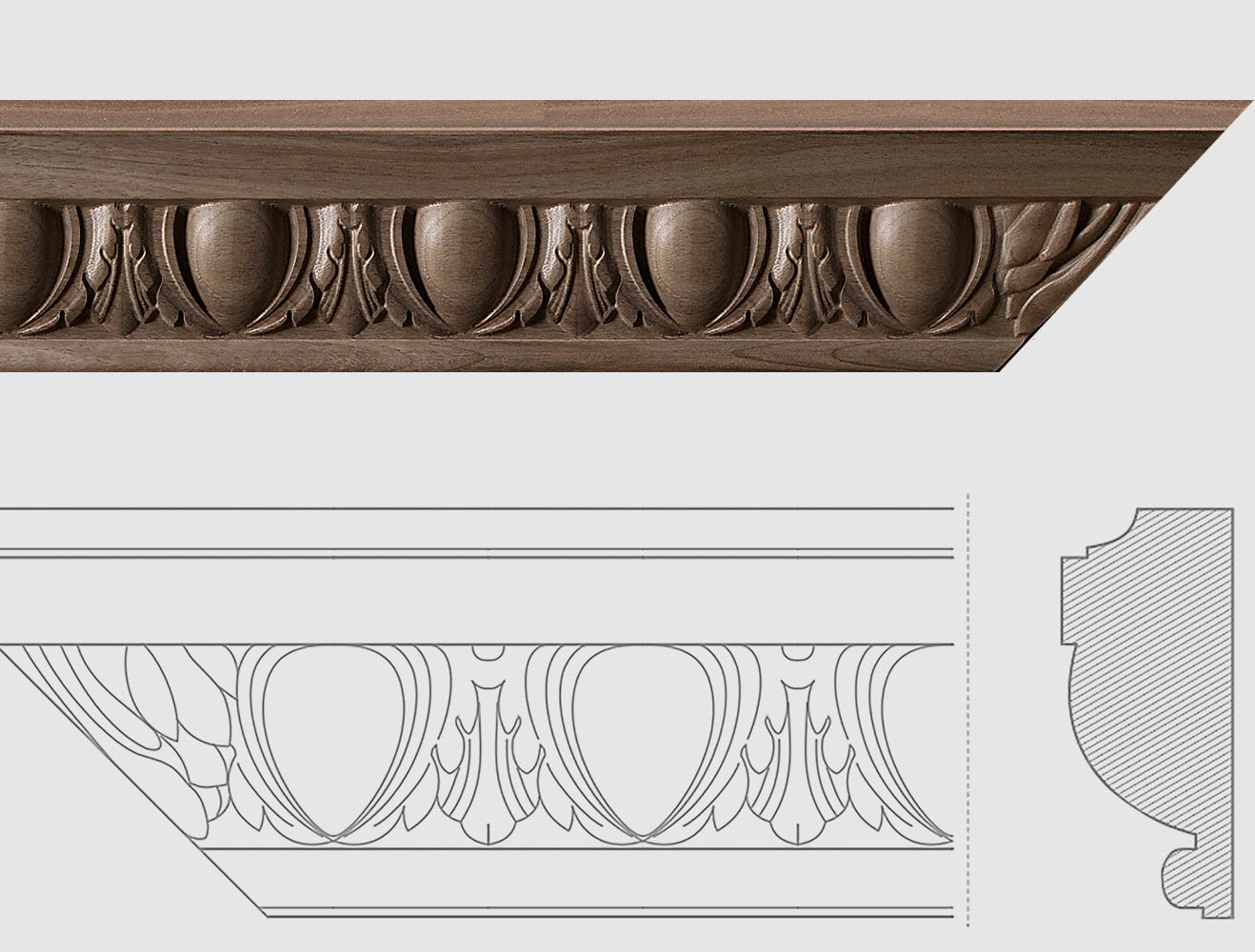Moulures décoratives en bois, sur commande