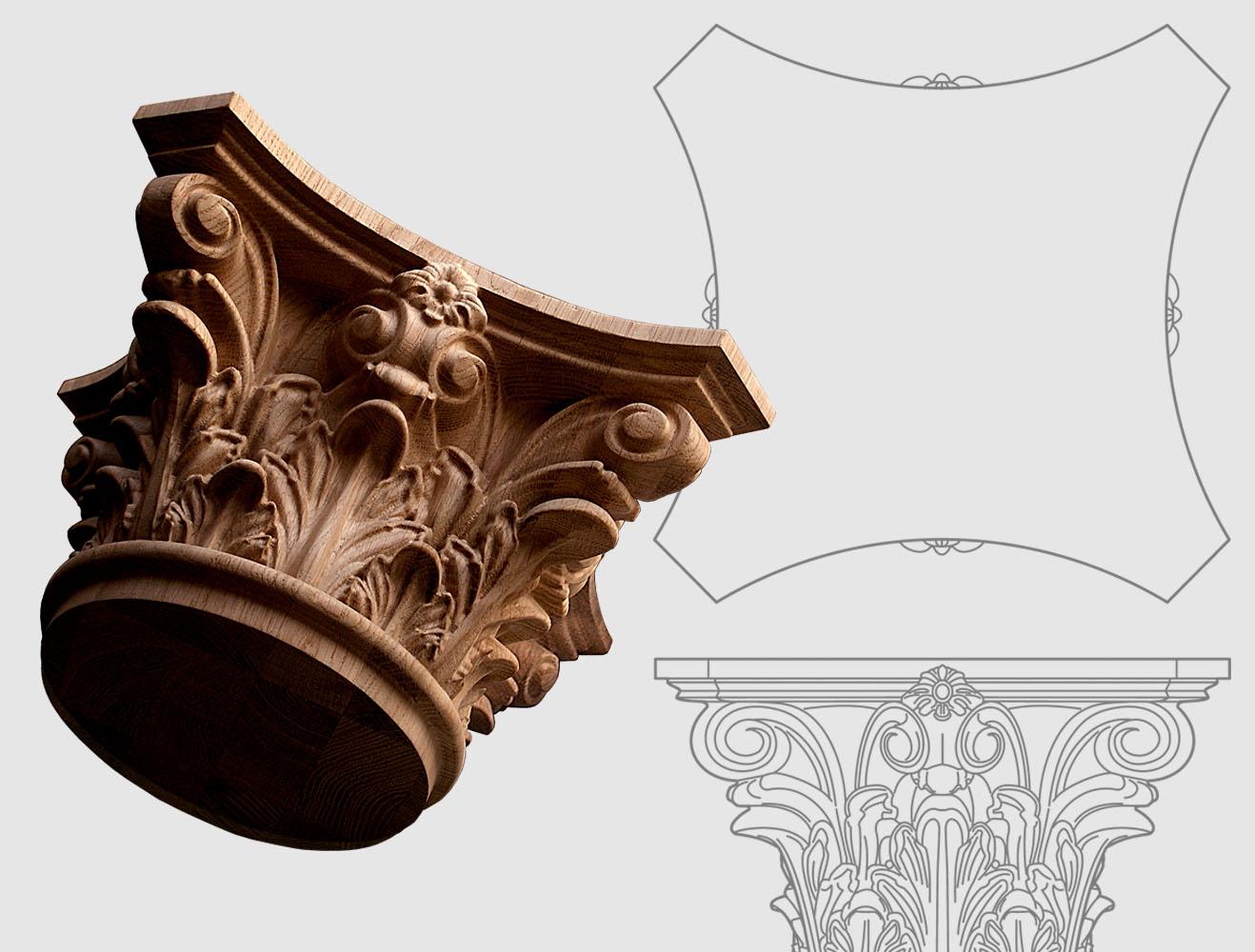 Chapiteaux Corinthien en bois sur commande
