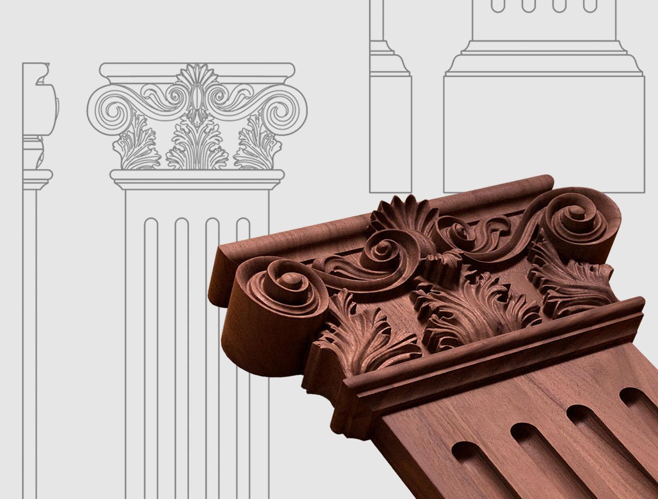 Chapiteaux pour colonnes et pilastres , réalisés sur mesure