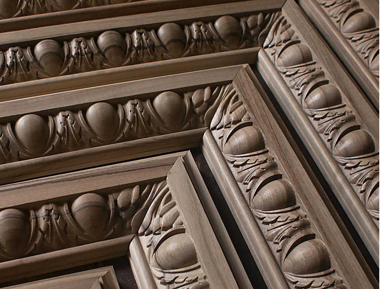 Moulures sculptées, Moulures d'angles sculptées, Corniche en bois sculptée