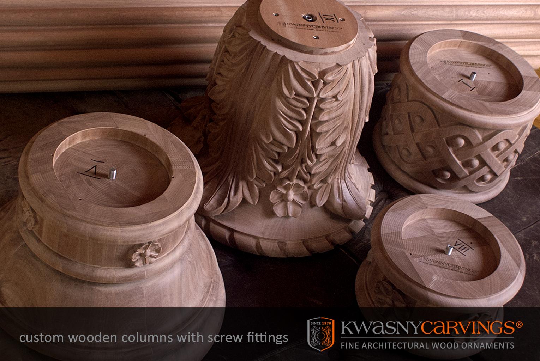 Colonne en bois sculpté